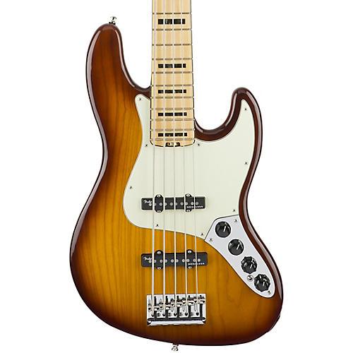 Fender American Elite Jazz Bass V, Maple Electric Bass Guitar Tobacco Sunburst