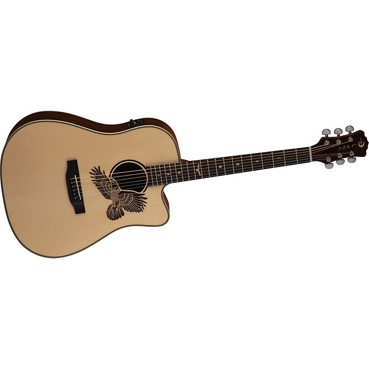 Luna Guitars Americana Cutaway Acoustic-Electric Guitar  (Eagle Laser Etch)