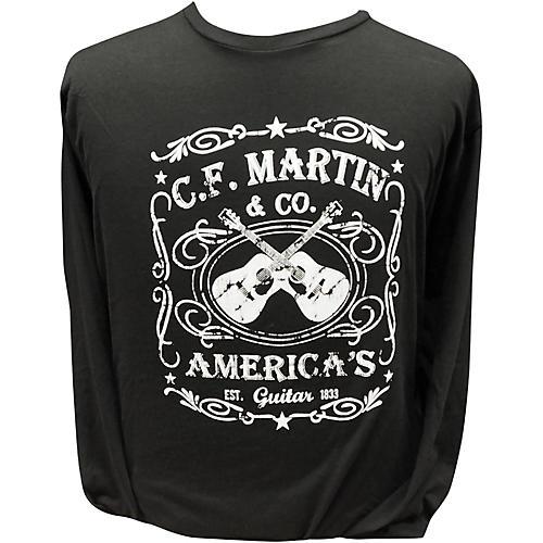 Martin America's Dual Guitar Logo - Long Sleeve Black T-Shirt
