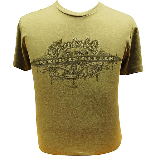 Martin America's Guitar - Black Logo on Military Green T-Shirt-thumbnail