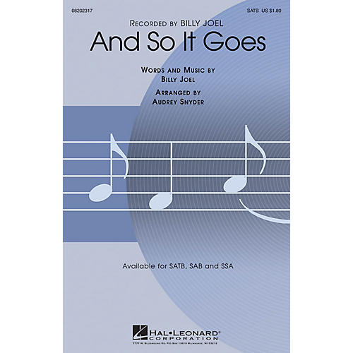 Hal Leonard And So It Goes SAB by Billy Joel Arranged by Audrey Snyder-thumbnail