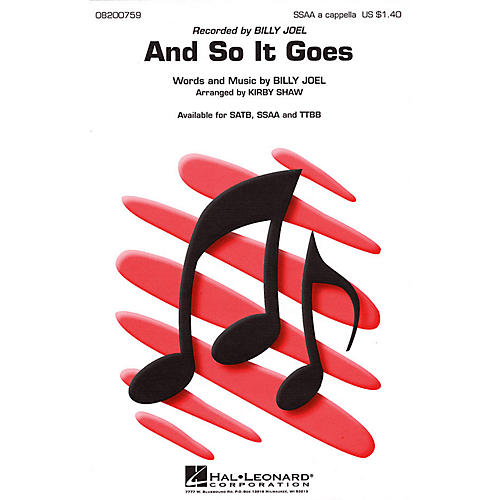 Hal Leonard And So It Goes TTBB A Cappella by Billy Joel Arranged by Kirby Shaw