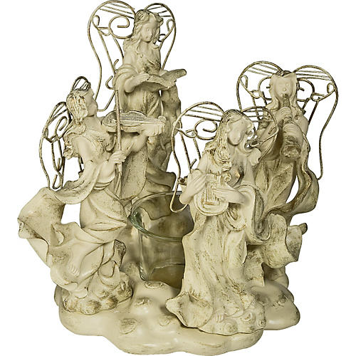 Gifts of Note Angels with Glass Tealite Holder