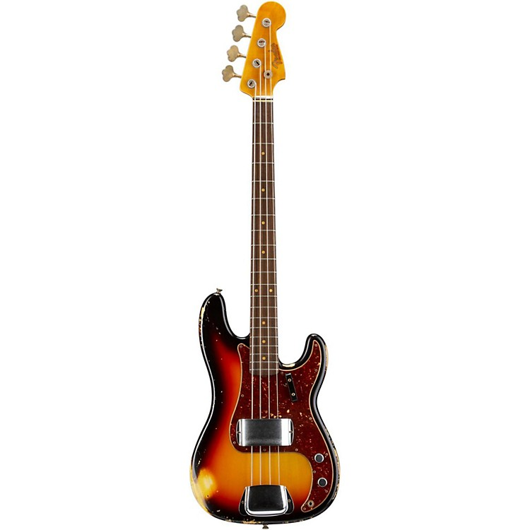 Fender Custom Shop Anniversary 1964 Precision Bass Heavy Relic Electric Bass Guitar Bleached 3-Tone Sunburst