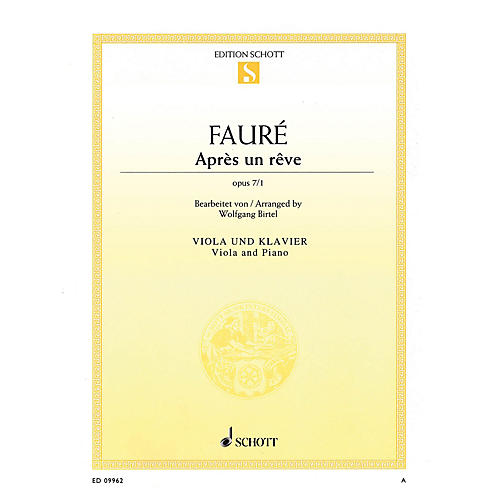 Schott Après un rêve, Op. 7/1 (Viola and Piano) String Series Softcover-thumbnail