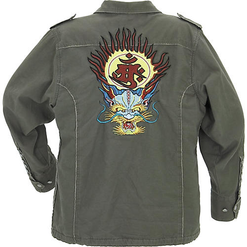 Edward Dada Army Jacket with Embroidered Dragon Face on Back