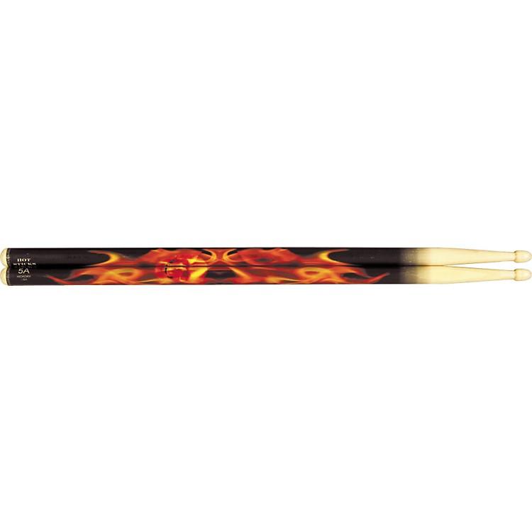 Hot SticksArtiSticks Wood Tip DrumsticksRed Flame5A