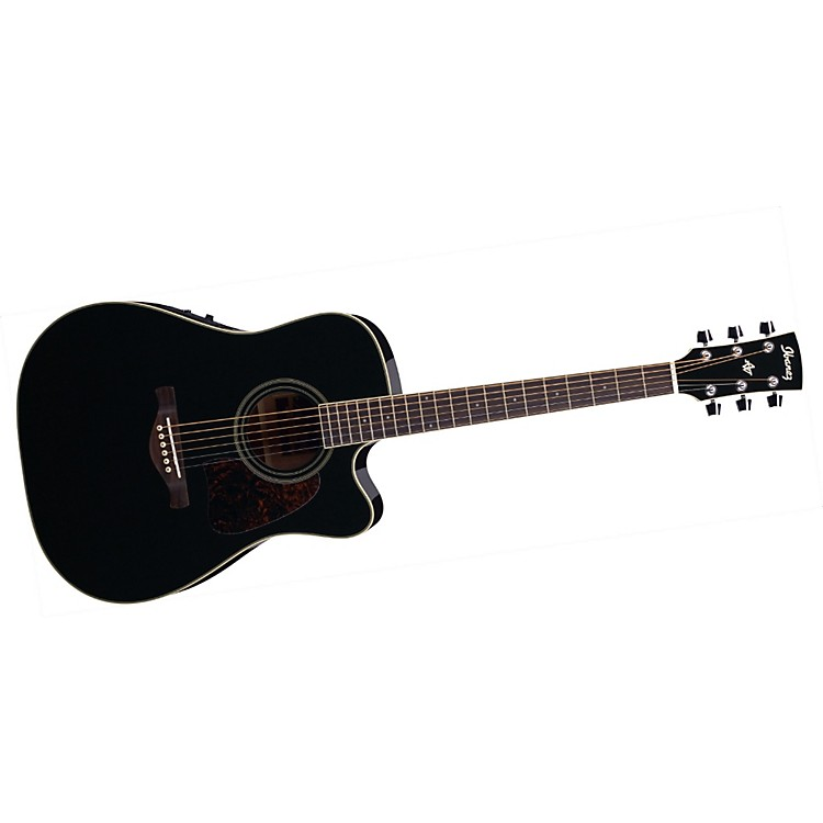Ibanez Artwood Series AW70ECE Solid Top Dreadnought Cutaway Acoustic-Electric Guitar Black