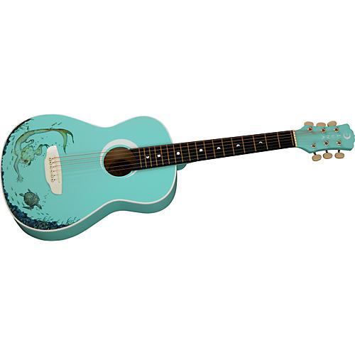 Luna Guitars Aurora Series Aqua Splash Mermaid Mini Acoustic Guitar