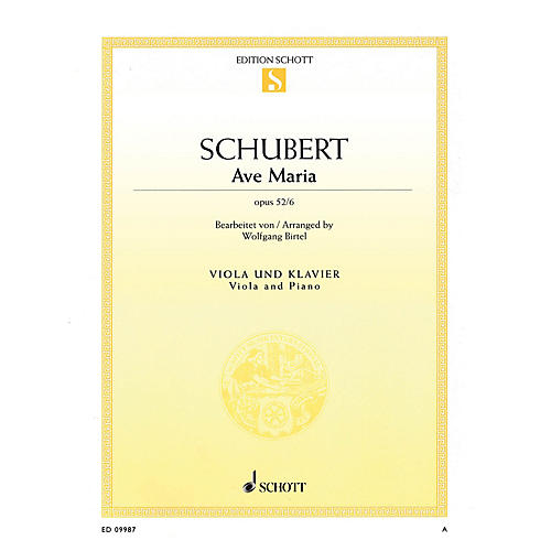 Schott Ave Maria Op. 52, No. 6 (arranged for Viola and Piano) String Series Softcover