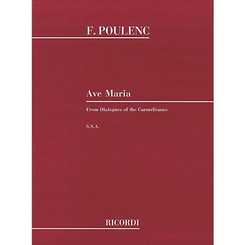 Hal Leonard Ave Maria SSA From Dialogues Of The Carmelites Composed by Francis Poulenc-thumbnail
