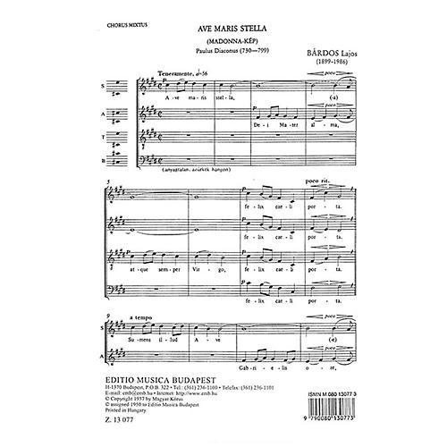 Editio Musica Budapest Ave Maria Stella SATB Composed by Lajos Bárdos-thumbnail