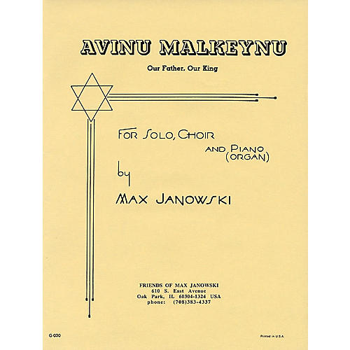 Transcontinental Music Avinu Malkeynu SATB composed by Max Janowski-thumbnail