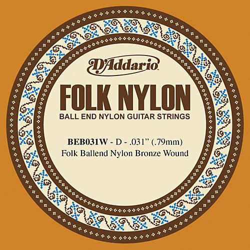 D'Addario BEB031W Folk Nylon Single Ball End Acoustic Guitar String