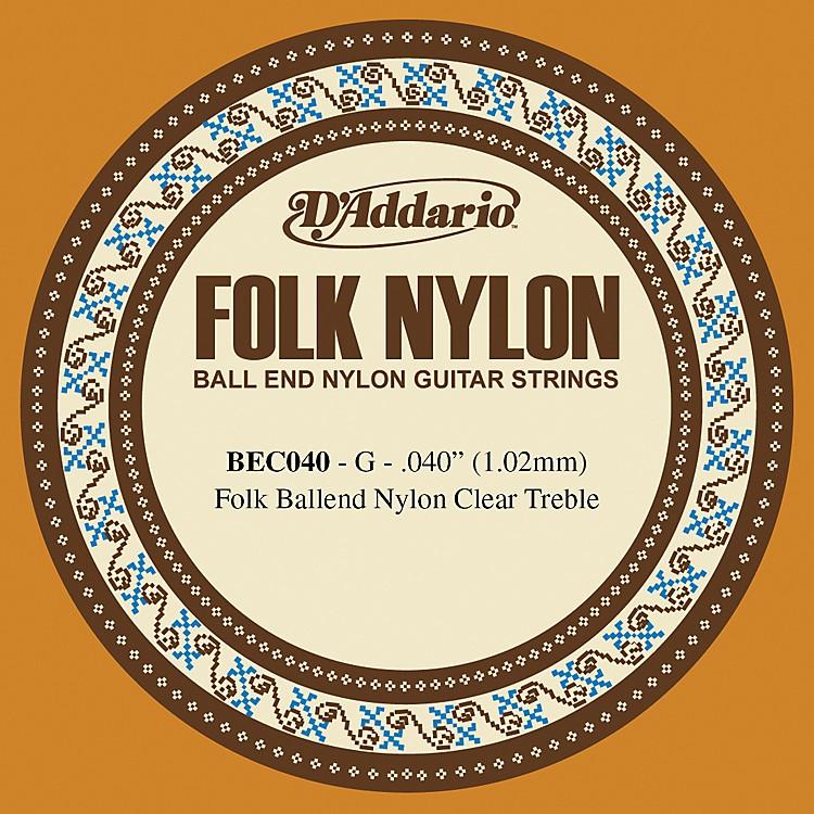 D'Addario BEC040 040 Folk Nylon Clear Ball End Single String