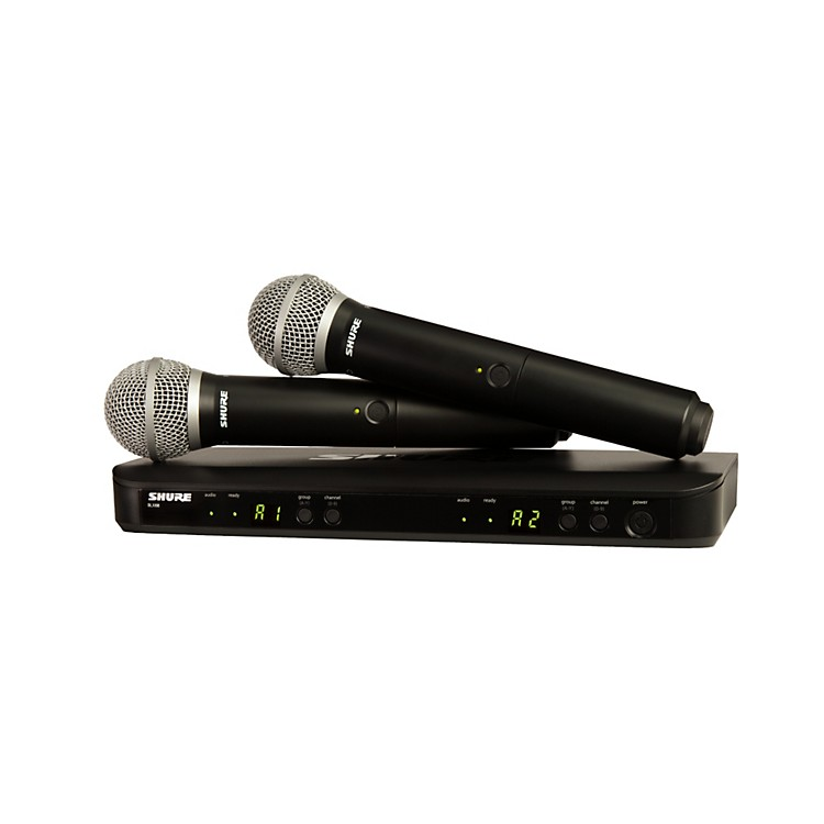 Shure BLX288/PG58 Dual-Channel Wireless System with 2 PG58 Handheld Transmitters frequency M15