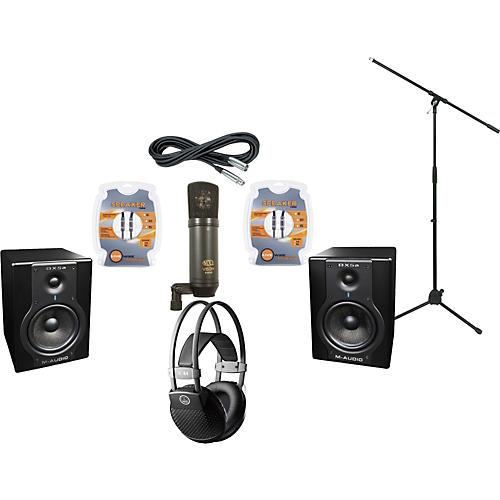 M-Audio BX5A Studio Monitors / MXL V63M Microphone / AKG K44MKII Headphones Recording Package-thumbnail