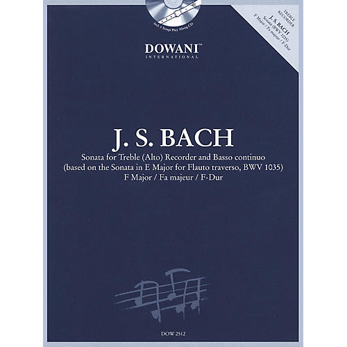 Dowani Editions Bach: Sonata for Treble (Alto) Recorder and Basso Continuo in F Major Dowani Book/CD Softcover with CD-thumbnail