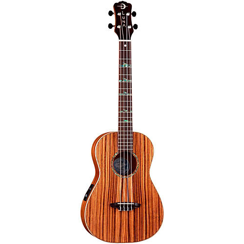 Luna Guitars Baritone Zebra Acoustic-Electric Ukulele Natural High Tide Design