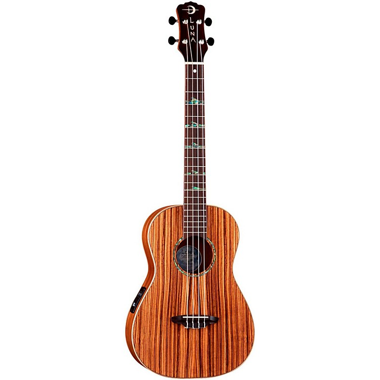 Luna GuitarsBaritone Zebra Acoustic-Electric UkuleleNaturalHigh Tide Design