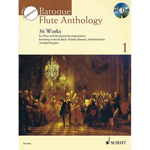 Schott Baroque Flute Anthology Volume 1 (36 Works for Flute and Piano) Woodwind Series Softcover with CD-thumbnail