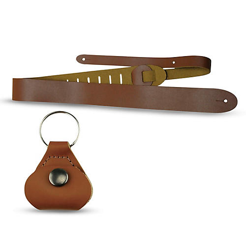 Perri's Basic Leather Guitar Strap with Leather Guitar Pick Key Chain-thumbnail