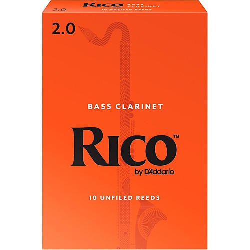 Rico Bass Clarinet Reeds, Box of 10 Strength 2