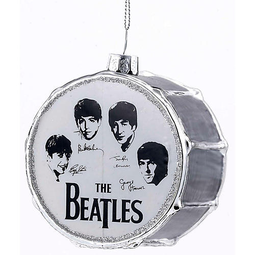Kurt S. Adler Beatles Glass Silver Drum Ornament-thumbnail