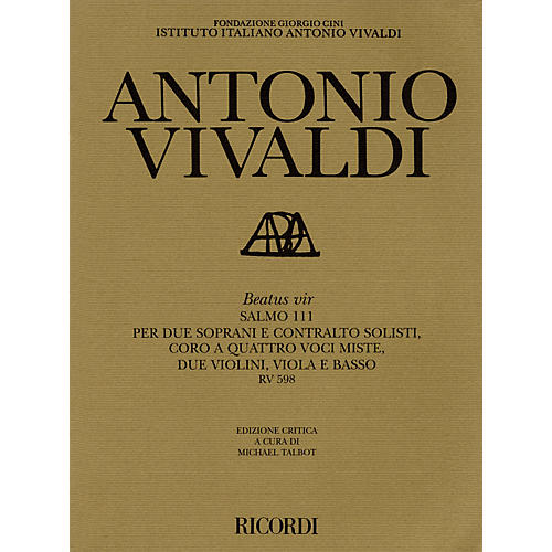 Ricordi Beatus Vir RV598 Study Score Series Composed by Antonio Vivaldi Edited by Michael Talbot