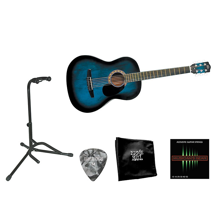 Rogue Beginner Acoustic Dreadnought 7/8 Guitar with Accessory Pack Blue Burst