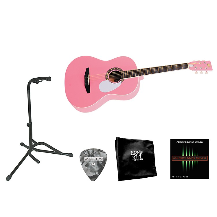 Rogue Beginner Acoustic Dreadnought 7/8 Guitar with Accessory Pack Pink