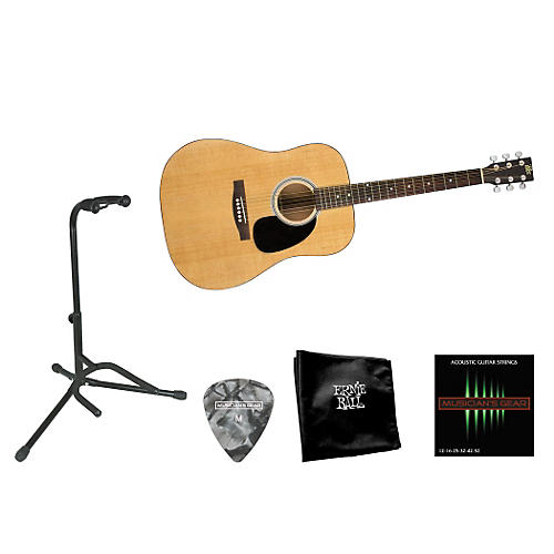 Rogue Beginner Acoustic Dreadnought Guitar with Accessory Pack Natural