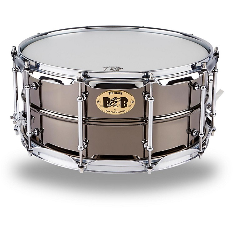 Pork Pie Big Black Brass Snare Drum with Tube Lugs and Chrome Hardware Black 6.5x14 Inch