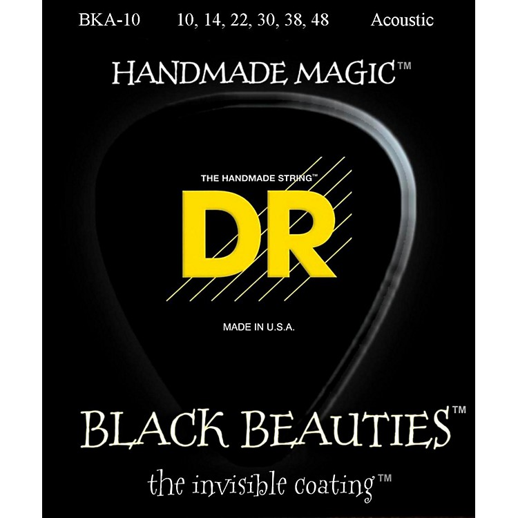 DR Strings Black Beauties Acoustic Guitar Strings Extra Lite