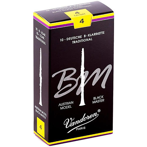 Vandoren Black Master Traditional Bb Clarinet Reeds Box of 10, Strength 4