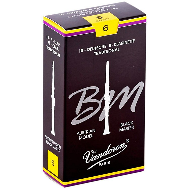 VandorenBlack Master Traditional Bb Clarinet ReedsBox of 10, Strength 6