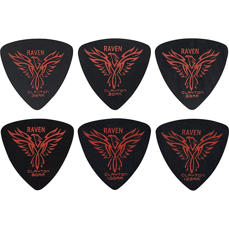 Clayton Black Raven Rounded Triangle Guitar Picks .38MM 1 Dozen