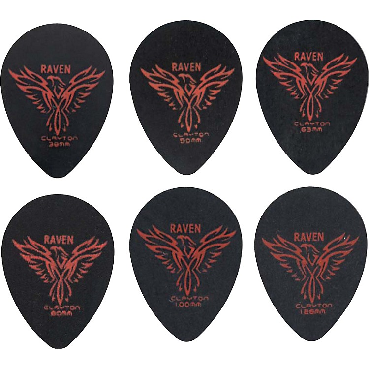 Clayton Black Raven Small Teardrop Guitar Picks 1.0MM 1 Dozen