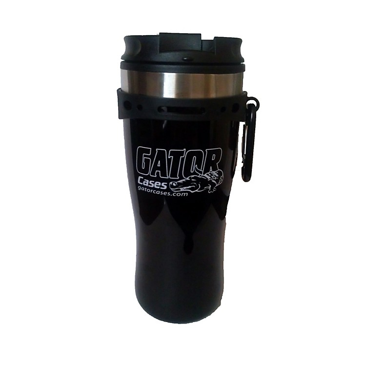 Gator Black Travel Mug with Black and White Gator Cases Logo