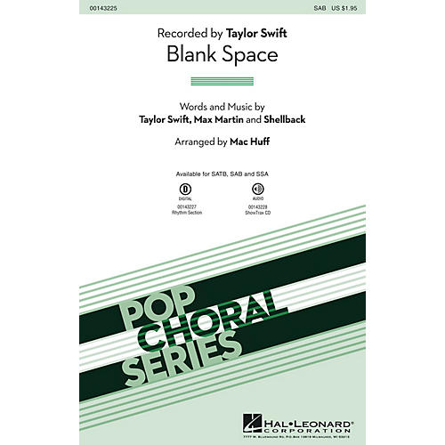 Hal Leonard Blank Space SAB by Taylor Swift arranged by Mac Huff-thumbnail