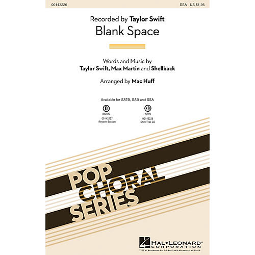 Hal Leonard Blank Space SSA by Taylor Swift arranged by Mac Huff-thumbnail