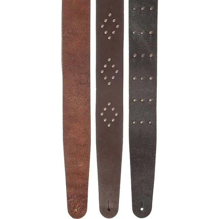 Planet WavesBlasted Leather Guitar StrapBrown Riveted Diamonds