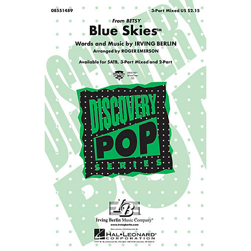 Hal Leonard Blue Skies 3-Part Mixed arranged by Roger Emerson