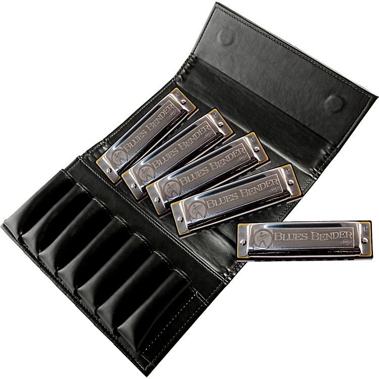 Hohner Blues Bender Harmonica 5 Pack with Leather Case