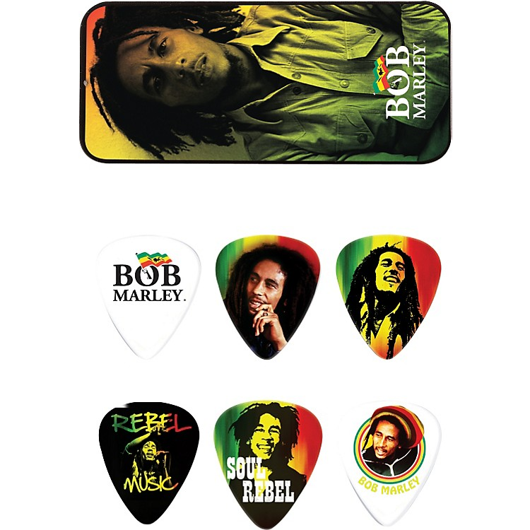 DunlopBob Marley Rasta Man Pick Tin with 6 Heavy Picks