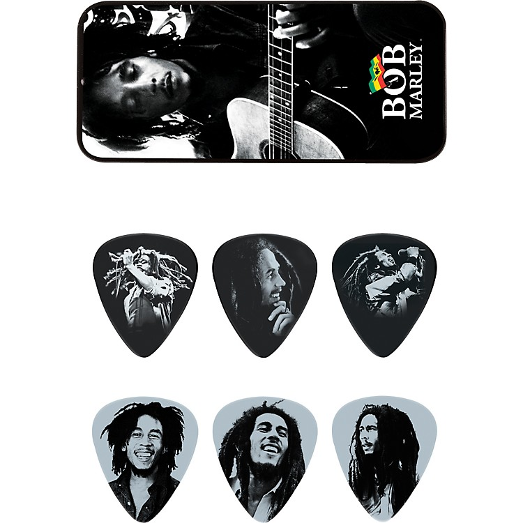 Dunlop Bob Marley Silver Pick Tin with 6 Medium Picks