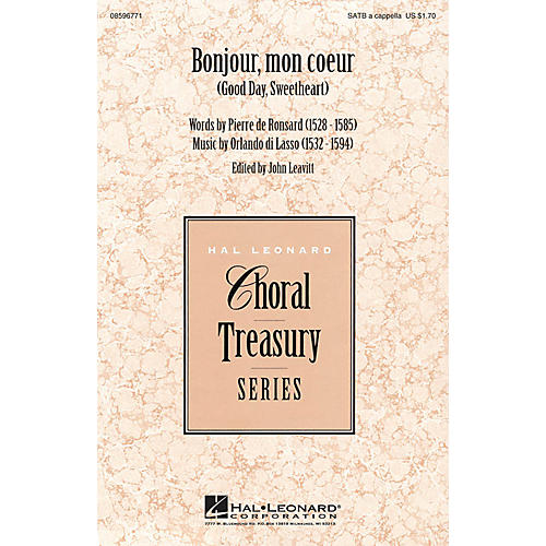 Hal Leonard Bonjour, mon coeur (Good Day, Sweetheart) SATB a cappella composed by Orlando di Lasso-thumbnail