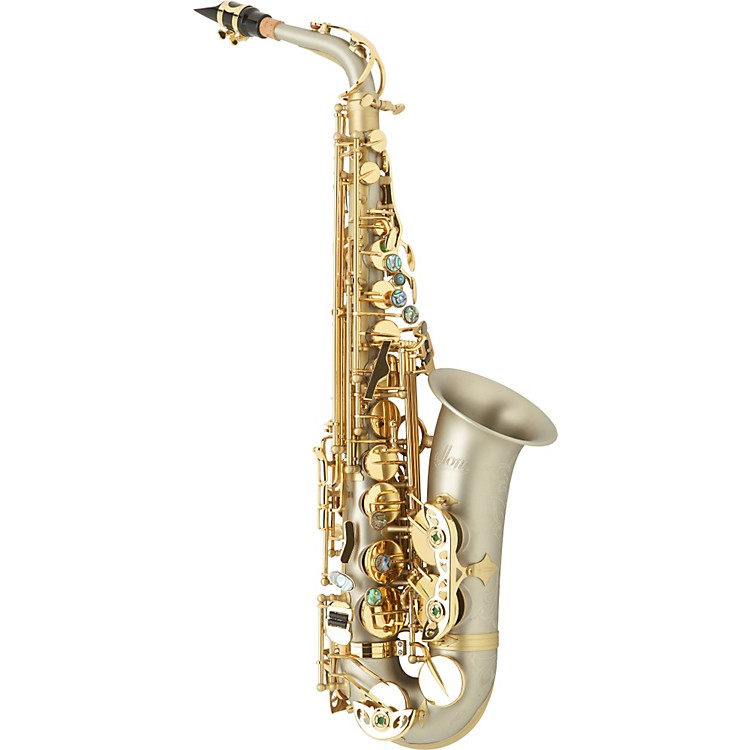 Allora Boss 2 Professional Alto Saxophone AAAS-909 - Matte Nickel Silver Body - Brass Lacquer Keys