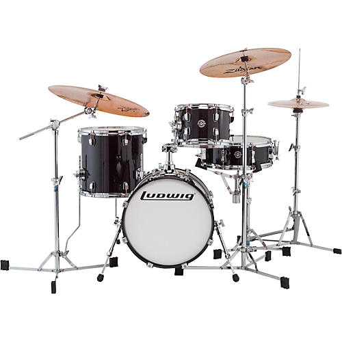 Ludwig Breakbeats by Questlove 4-Piece Shell Pack Black Sparkle Chrome Hardware
