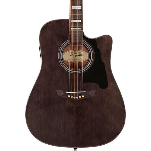 D'Angelico Brooklyn Dreadnought Cutaway Acoustic-Electric Guitar Gray-Black